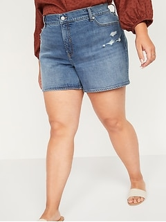 High-Waisted Secret-Slim Pockets O.G. Straight Plus-Size Ripped Jean Shorts -- 3-inch inseam