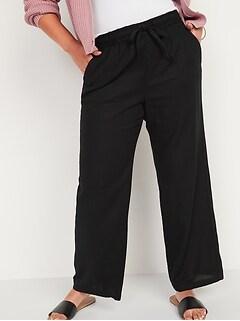 High-Waisted Wide-Leg Linen-Blend Pants for Women