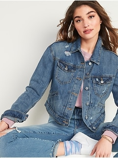 Cropped Distressed Jean Jacket for Women