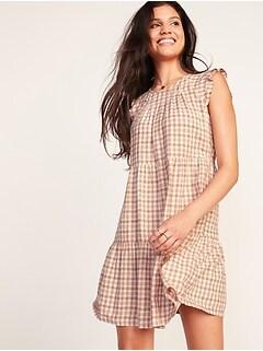 Tiered Linen-Blend Flutter-Sleeve Swing Dress