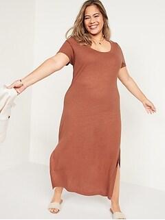Linen-Blend Plus-Size Maxi T-Shirt Shift Dress