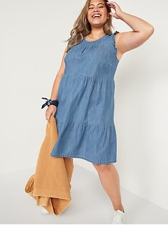 Tiered Chambray Plus-Size Flutter-Sleeve Swing Dress