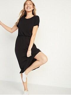 Waist-Defined Slub-Knit Midi Dress for Women