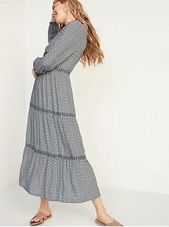 Floral-Print Tiered-Hem Midi Swing Dress for Women