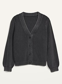 Acid-Wash Shaker-Stitch Button-Front Plus-Size Cardigan Sweater