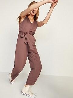 Combinaison sans manches en tricot ponte avec ceinture-lien pour Femme