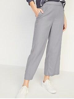 High-Waisted Linen-Blend Culotte Pants for Women