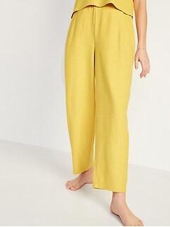 Pantalon en coton ouaté à taille très haute et jambe droite côtelée pour Femme