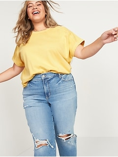 Oversized Garment-Dyed Plus-Size Short-Sleeve Sweatshirt