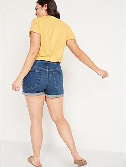 O.G. à taille haute Short en denim pour Femme, entrejambe de 8cm