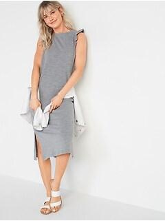 Slub-Knit Flutter-Sleeve Midi Shift Dress for Women