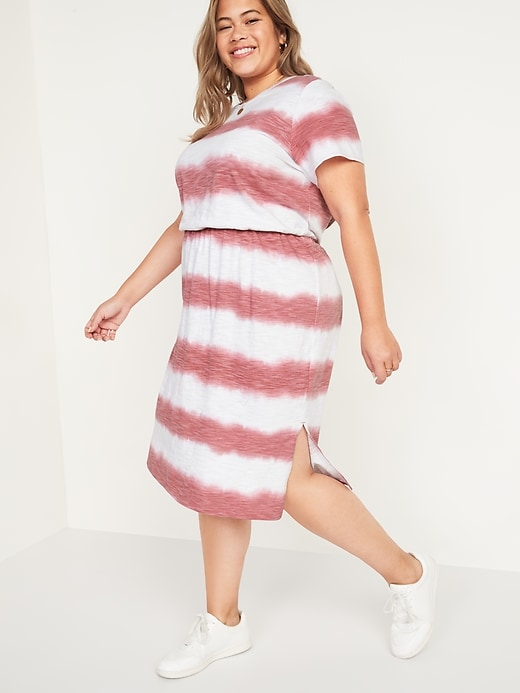 Waist-Defined Tie-Dye Stripe Plus-Size Midi Dress
