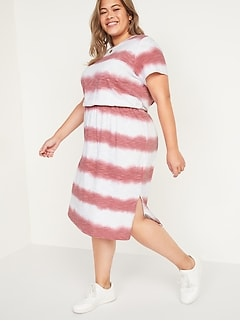 Waist-Defined Tie-Dye Stripe Plus-Size Midi Dress