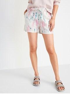 High-Waisted Tie-Dye Linen-Bend Shorts for Women -- 4-inch inseam