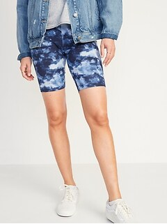 High-Waisted Printed Long Biker Shorts for Women -- 9-inch inseam