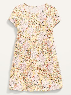 Short-Sleeve Tiered Floral Dress for Girls
