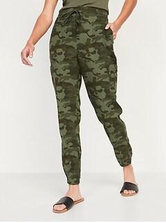 Pantalon de jogging effilé en mélange de lin à taille haute pour Femme