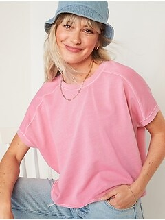 Oversized Garment-Dyed Short-Sleeve Sweatshirt for Women