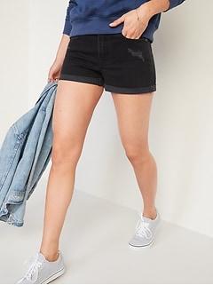 Mid-Rise Boyfriend Ripped Black Jean Shorts for Women -- 3-inch inseam