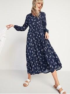Floral-Print Textured-Dobby Midi Swing Dress for Women