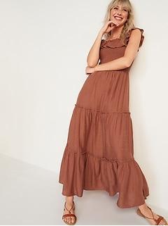 Ruffled Smocked-Bodice Embroidered Sleeveless Maxi Dress for Women