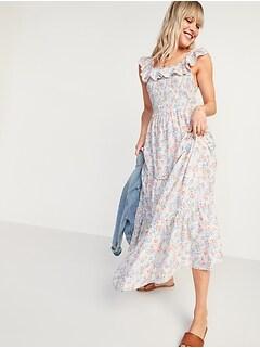 Ruffled Smocked-Bodice Floral Sleeveless Maxi Dress for Women