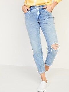 Mid-Rise Boyfriend Straight Ripped Jeans for Women