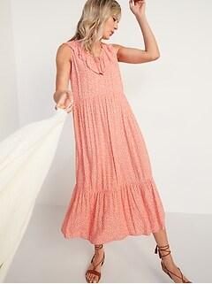 Sleeveless Ruffled V-Neck Swing Dress for Women