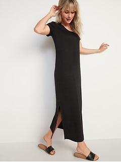 Linen-Blend Maxi T-Shirt Shift Dress for Women
