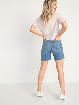 Extra High-Waisted Sky Hi Button-Fly Ripped Jean Shorts for Women -- 7-inch inseam