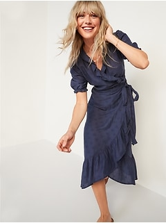 Waist-Defined Ruffled Tie-Belt Midi Wrap Dress for Women