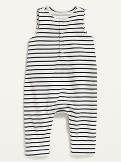 Unisex French Terry Striped Henley One-Piece for Baby