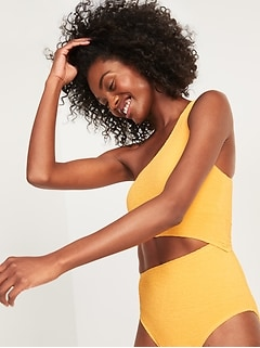Textured One-Shoulder Side-Cutout One-Piece Swimsuit for Women
