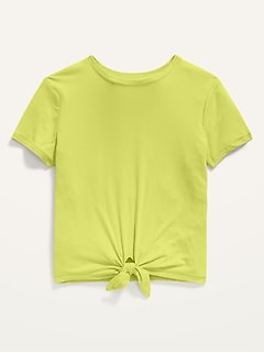 Luxe Short-Sleeve Rib-Knit Tie-Hem Tee for Girls