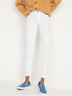 Mid-Rise White Super Skinny Ankle Jeans for Women