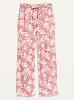 High-Waisted Tie-Dyed Linen-Blend Wide-Leg Pants