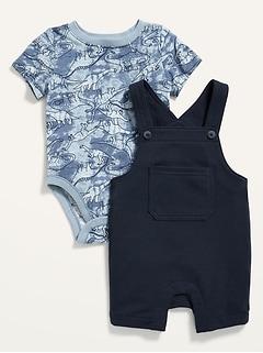 Ensemble salopette en jersey bouclette et cache-couche en jersey à imprimé pour Bébé