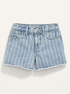 Extra High-Waisted Railroad-Stripe Cut-Off Jean Shorts for Girls