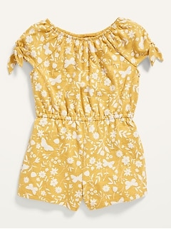 Printed Tie-Sleeve Romper for Toddler Girls