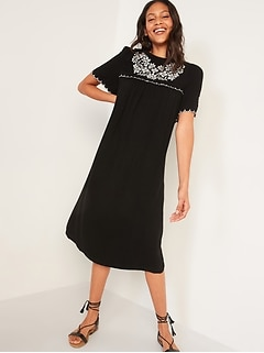 Embroidered Midi Swing Dress for Women