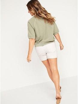 Mid-Rise Slim Ecru-Wash Jean Shorts for Women -- 5-inch inseam