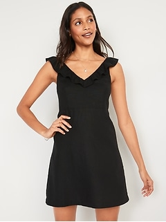 Sleeveless Ruffled Fit & Flare Linen-Blend Dress for Women