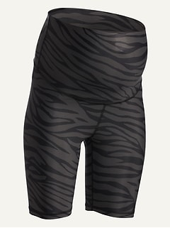 Maternity Rollover-Waist PowerSoft Zebra-Print Biker Shorts -- 8-inch inseam