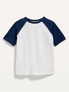 T-shirt à manches courtes à couleurs contrastantes anti-UV pour Tout-petit garçon