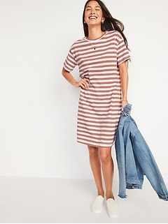 Vintage Striped Slub-Knit T-Shirt Shift Dress for Women