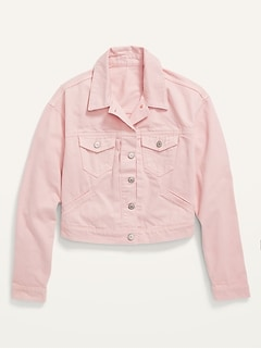 Cropped Pink Jean Jacket for Women