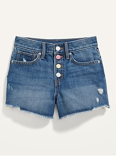 Extra High-Waisted Medium-Wash Distressed Cut-Off Jean Shorts for Girls