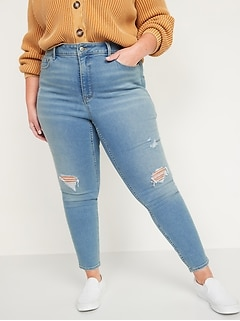 Extra High-Waisted Secret-Slim Pockets Rockstar 360° Stretch Plus-Size Super Skinny Ripped Jeans