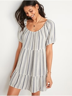 Printed Puff-Sleeve Tiered Swing Dress for Women