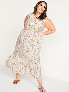 Sleeveless Ruffled V-Neck Plus-Size Midi Swing Dress